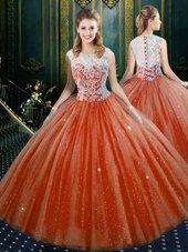 Orange Red Zipper Quinceanera Dress Lace Sleeveless Floor Length