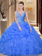 Backless Blue Sleeveless Lace and Appliques and Ruffles and Pick Ups Floor Length Sweet 16 Quinceanera Dress