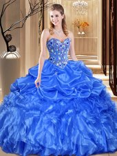 Fancy Floor Length Royal Blue Sweet 16 Dress Organza Sleeveless Lace and Appliques