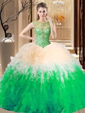 New Arrival Multi-color Sleeveless Tulle Backless Sweet 16 Quinceanera Dress for Prom and Military Ball and Sweet 16 and Quinceanera