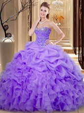 Lavender Lace Up Quinceanera Gown Beading and Ruffles and Pick Ups Sleeveless Floor Length