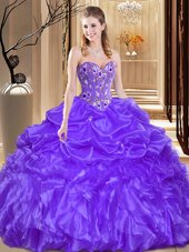 Fantastic Purple Lace Up 15th Birthday Dress Beading and Embroidery Sleeveless Floor Length