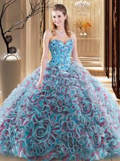 Luxurious Multi-color Lace Up Sweet 16 Dress Embroidery and Ruffles Sleeveless With Brush Train