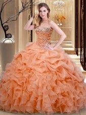 Sweetheart Sleeveless Organza 15th Birthday Dress Beading and Ruffles and Pick Ups Lace Up