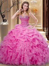 Pick Ups Ball Gowns 15th Birthday Dress Rose Pink Sweetheart Organza Sleeveless Floor Length Lace Up