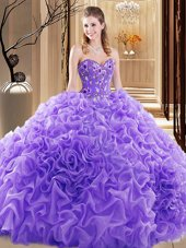 Elegant Lavender Fabric With Rolling Flowers Lace Up Sweetheart Sleeveless Vestidos de Quinceanera Court Train Embroidery and Ruffles and Pick Ups