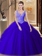 Super Sleeveless Tulle Floor Length Backless Vestidos de Quinceanera in Royal Blue for with Lace and Appliques and Pick Ups