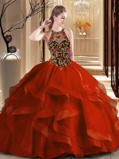 Simple Rust Red Tulle Backless Scoop Sleeveless Quince Ball Gowns Brush Train Embroidery and Ruffles