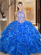 Dazzling Royal Blue Ball Gowns Scoop Sleeveless Organza Floor Length Backless Embroidery and Ruffles Sweet 16 Quinceanera Dress
