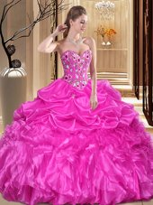 Modest Sweetheart Sleeveless Lace Up Vestidos de Quinceanera Fuchsia Organza