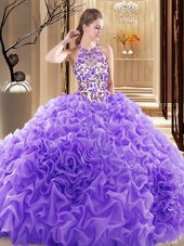 Great Sleeveless Brush Train Backless Embroidery and Ruffles 15 Quinceanera Dress