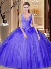 V-neck Sleeveless Tulle and Sequined Sweet 16 Dresses Appliques and Ruffles and Sequins Backless