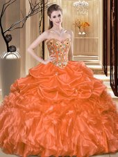 Graceful Embroidery and Ruffles Quinceanera Gown Orange Lace Up Sleeveless Floor Length