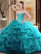 Teal Sleeveless Tulle Zipper Quinceanera Gown for Military Ball and Sweet 16 and Quinceanera
