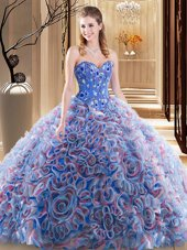Glittering Fabric With Rolling Flowers Sleeveless With Train 15th Birthday Dress Brush Train and Embroidery and Ruffles