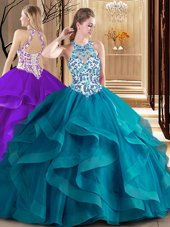 Simple Scoop Teal Sleeveless Brush Train Embroidery and Ruffles Quinceanera Gown