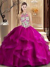 Scoop Ball Gowns Sleeveless Fuchsia Quinceanera Gowns Brush Train Zipper