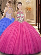 Scoop Sequins Hot Pink Sleeveless Tulle Backless Quinceanera Gowns for Military Ball and Sweet 16 and Quinceanera