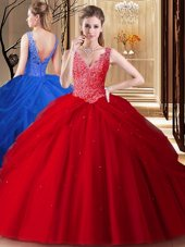 Lace and Appliques and Pick Ups Vestidos de Quinceanera Red Backless Sleeveless Floor Length