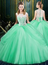 Inexpensive Scoop Apple Green Sleeveless Lace and Pick Ups Floor Length Sweet 16 Dresses