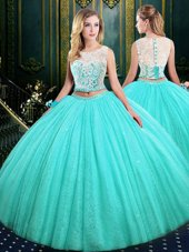 High End Scoop Blue Sleeveless Lace and Sequins Floor Length Sweet 16 Quinceanera Dress