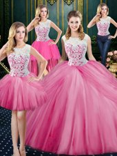 Four Piece Rose Pink Scoop Zipper Lace and Appliques and Pick Ups 15th Birthday Dress Sleeveless