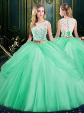 Scoop Apple Green Sleeveless Floor Length Lace and Pick Ups Zipper Quince Ball Gowns