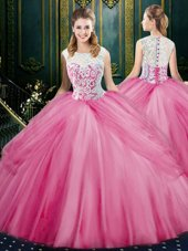 Attractive Scoop Floor Length Rose Pink Sweet 16 Dress Tulle Sleeveless Lace and Pick Ups