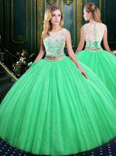 Pretty Scoop Floor Length Quinceanera Gowns Tulle and Sequined Sleeveless Lace and Sequins