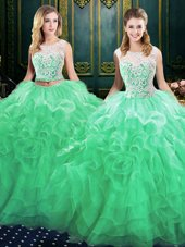 Fashionable Scoop Sleeveless Organza Quinceanera Dress Lace and Ruffles Court Train Lace Up