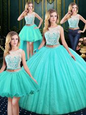Four Piece Scoop Sequins Blue Sleeveless Tulle and Sequined Lace Up Sweet 16 Quinceanera Dress for Military Ball and Sweet 16 and Quinceanera