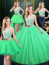 Four Piece Scoop Neckline Lace and Sequins Sweet 16 Dresses Sleeveless Lace Up