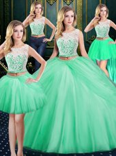 Four Piece Scoop Floor Length Zipper Quinceanera Gown Apple Green and In for Military Ball and Sweet 16 and Quinceanera with Lace and Pick Ups