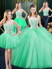 Comfortable Four Piece Scoop Floor Length Apple Green 15 Quinceanera Dress Tulle Sleeveless Lace and Pick Ups