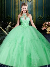 Beautiful Halter Top Sleeveless Lace Up Floor Length Beading and Lace and Ruffles and Ruching Sweet 16 Dress