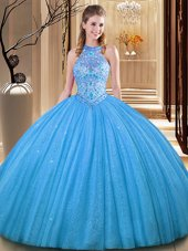 Simple Baby Blue Sleeveless Floor Length Embroidery Backless Quinceanera Gown