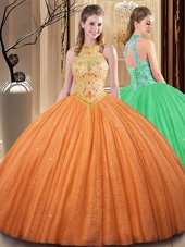 Best Orange Backless Ball Gown Prom Dress Embroidery and Hand Made Flower Sleeveless Floor Length