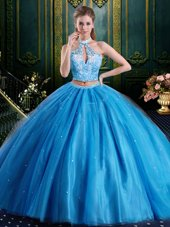Baby Blue Two Pieces Halter Top Sleeveless Tulle Floor Length Lace Up Beading and Lace and Appliques Sweet 16 Quinceanera Dress