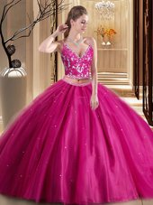 Luxurious Hot Pink Tulle Lace Up Spaghetti Straps Sleeveless Floor Length Quinceanera Gown Beading and Appliques