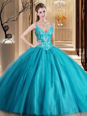 Fashion Teal Spaghetti Straps Neckline Beading and Lace and Appliques Quince Ball Gowns Sleeveless Lace Up