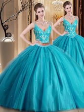 Decent Teal Sleeveless Floor Length Beading and Lace and Appliques Lace Up Quinceanera Dress