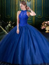 On Sale High-neck Sleeveless Lace Up Quinceanera Gown Royal Blue Tulle