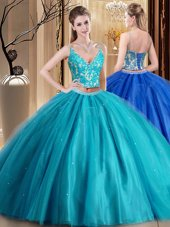 Admirable Teal Spaghetti Straps Neckline Beading and Lace and Appliques Quinceanera Dresses Sleeveless Lace Up