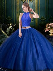 Tulle High-neck Sleeveless Lace Up Beading and Lace and Appliques 15 Quinceanera Dress in Royal Blue
