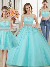 Three Piece Scoop Beading and Appliques Quinceanera Gowns Aqua Blue Zipper Sleeveless Floor Length