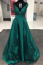 Off the Shoulder Teal Zipper Evening Dress Pleated Sleeveless Sweep Train