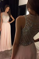 Customized Scoop Pink Criss Cross Prom Dress Beading Sleeveless Sweep Train