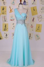 High End Aqua Blue One Shoulder Side Zipper Beading Prom Party Dress Brush Train Sleeveless