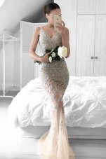 Mermaid Tulle V-neck Sleeveless Sweep Train Zipper Beading and Lace Going Out Dresses in Champagne