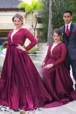 Dazzling Burgundy Satin Zipper Scoop Long Sleeves With Train Dress for Prom Sweep Train Beading